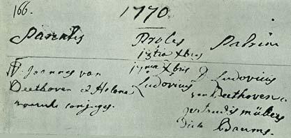 Acte de baptême de Ludwig van Beethoven